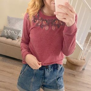 NWT Lucky Brand Floral Embroidered Sweatshirt